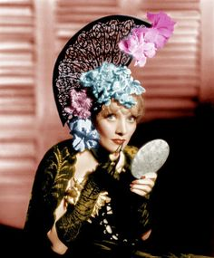 """Marlene Dietrich - """" The Devil is a woman """" 1935 http://www.nomad-chic.com/floral-head-adornments.html"""