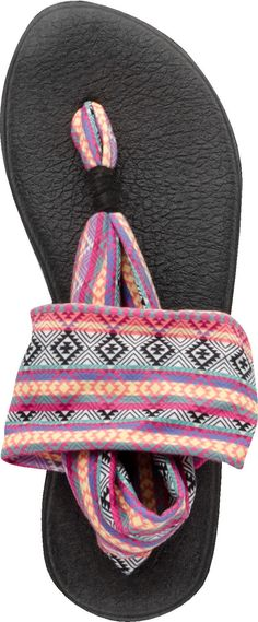 BuySanuk Yoga Sling 2 Print Thong Sandal on sale at PlanetShoes.com. Order Sanuk shoes with free shipping & returns! Click or call 1-888-818-7463. (Charcoal/Natural Stripes)