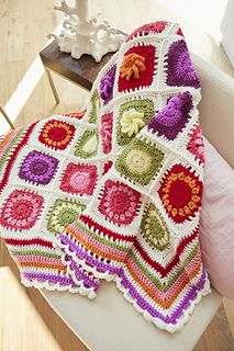 Designed by the talented Lynne Rowe with an exclusive colourway by Heather Leal of The Patchwork Heart, the Flower Garden blanket uses an aran-weight yarn in bright colours. Baby Knitting Patterns, Afghan Crochet Patterns, Crochet Motif, Free Crochet, Knit Crochet, Crochet Afghans, Crochet Blankets, Crochet Poppy, Crochet Granny