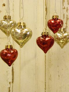 Valentines Set of 5 RED Glass Heart Ornaments