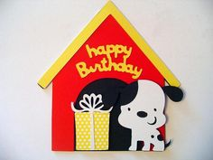Dalmatian and Dog House Shaped Happy Birthday Card by BethiesCards, $6.00 USD