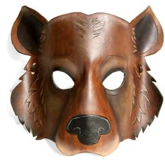 Leather Grizzly Bear Mask ($85) ❤ liked on Polyvore featuring costumes, grizzly bear costume and leather costume
