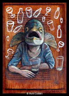 Drinks like a Fish Idioms, Fish, Sea, Drinks, Artist, Artwork, Animals, Drinking, Beverages