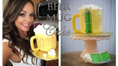 Want to see how easy it is to make this awesome Beer Mug Cake? This is seriously one of the easiest cakes ever and it's perfect for grooms, birthdays, or ev. Beer Bottle Cake, Beer Mug Cake, Sweets Cake, Cupcake Cakes, Cupcakes, Cheer Cakes, Diy Birthday Cake, Birthday Ideas, 50th Birthday