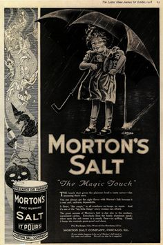 Morton Salt Ad from 1918 - beautifully executed Halloween advertising and inline with the brand