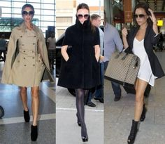 Victoria Beckham airport and vacation fashion style