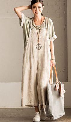 25ac6ca0584ca Amazon.com  FantasyLinen Jumpsuits For Women Plus Size Linen Overalls   Clothing Overalls Women