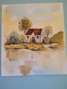 House on lake, original painting, watercolor house, lake scene, reflections, naive painting, South African scene, thatched roof house