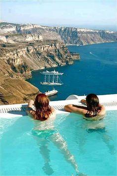 Caldera view from a pool at Imerovigli Santorini
