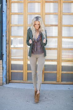 ↞ Apricot Lane Centennial ↠ Olive military jacket {$40} Flying Tomato Flowy patterned top {$34} Tan moto legging {$44} Call (303)-955-7452 to order- we ship!