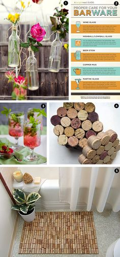 #DIY projects for cocktail people! Put those wine corks & wine bottles to good use.