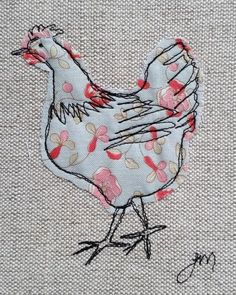 Machine Embroidery Projects Blue chicken - framed freestyle machine embroidery by carlasisters Freehand Machine Embroidery, Free Motion Embroidery, Machine Embroidery Patterns, Hand Embroidery Designs, Free Motion Quilting, Embroidery Art, Embroidery Stitches, Machine Applique, Bird Applique