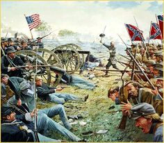 General Lewis Lo Armistead leads the final stages of Picketts Charge against the Union lines with his hat waving on the tip of his saber in this famous painting of The Angle, depicting the High Water Mark of the Confederacy, by American artist Dale Gallon.