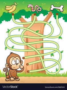 Find Vector Illustration Education Maze Game Monkey stock images in HD and millions of other royalty-free stock photos, illustrations and vectors in the Shutterstock collection. Thousands of new, high-quality pictures added every day. Preschool Learning Activities, Baby Learning, Preschool Worksheets, Teaching Kids, Maze Games For Kids, Math For Kids, Mazes For Kids Printable, Free Printable, Kids Education