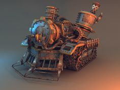 Steampunk Tank Picture  (3d, fantasy, vehicle, tank, train, steampunk, tractor)
