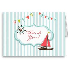 """Just had a birthday party for your kid and want to send """"Thank You"""" Cards? Then this Cute Sailing Boat Card is the one! And it's totally customizable!"""