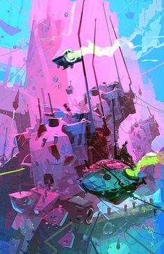 50 stunning sci-fi landscapes: This incredible abstract scene by talented Ian McQue is bursting with color!
