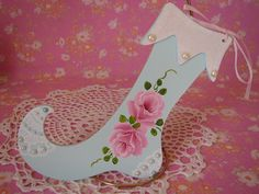 Stocking Ornament Aqua Hand Painted Shabby Chic by pinkrose1611, $14.00