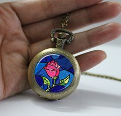 Pocket Watch Flowers Rose pendant Locket necklace by pier6craft