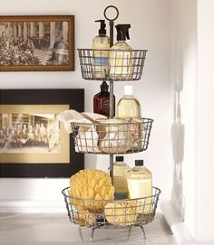 This one can be done with the cupcake tiers which are easier to find. Probably  just could add round baskets to them somehow | 20 Marvelous Makeup Storage Ideas