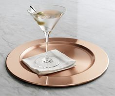 Everyday stemware, beautifully crafted from top to bottom. The classic V-shaped martini is finished with a smooth fire-polished rim and pulled stem. Exquisite clarity at an exceptional price. Copper Pots, Copper Kitchen, Kitchen Tools, Serveware, Tableware, How To Clean Metal, Charger Plates, Crate And Barrel, Food Styling