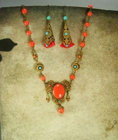 1920s Czech necklace Art DECO Egyptian Revival by vintagesparkles