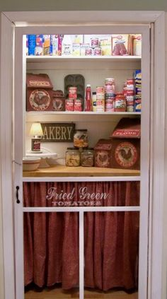 Walk-in Pantry Screen Door. When you have the space, this is the way to go. Add interior light and your coffee pot to make it an inviting space. Love the stenciling on the screen here. Pantry Door, Pantry Laundry Room, Screen Door, Pantry, Cupboard, Doors, Vintage Screen Doors, Walk In Pantry, Country Kitchen
