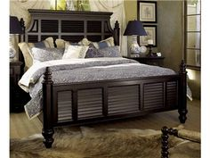 Shop for Tommy Bahama Home Malabar 5/0 Queen Panel Bed, 619-133C, and other Bedroom Beds at Exotic Home in Virginia Beach area, Norfolk area, and the Outer Banks. A shutter pattern lines the frames of this deep and royal panel bedset.