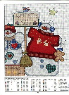 Snowmen have heart 3 Cross Stitch Books, Cross Stitch Needles, Cross Stitch Charts, Cross Stitch Patterns, Cross Stitching, Cross Stitch Embroidery, Snowman Cross Stitch Pattern, Cross Stitch Pictures, Christmas Embroidery