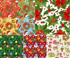 Christmas patterns with Santa Claus, gifts and christmas articles