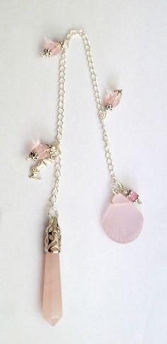 Beautiful, genuine, semi precious stone point pendulums, mermaid,  beach glass