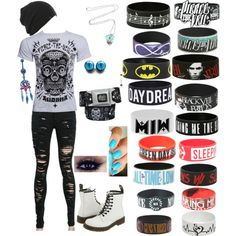 Pierce the Veil Concert! by ptveilienlindsey on Polyvore featuring polyvore fashion style Dr. Martens Essie