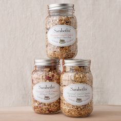 recycled jars- I can use for granola and trail mix, chopped nuts, dried fruit, and dehydrated herbs.