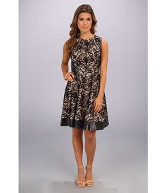 Jessica Simpson Sleeveless Fit And Flare Dress With Contrast Trim Coral - 6pm.com