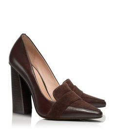 Tory Burch Smith Pump. A 'CLASSIC' high-heeled loafer w/ a twist - sleek profile & pointed toe 2 add interest; put these with any pattern u like & watch how ur outfit comes 2 life!