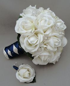 Silk Flower Bridal Bouquet Real Touch Roses & Rhinestones White Silk Flower Real Touch Rose Groom's Boutonniere $195 + $15 shipping