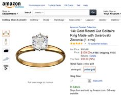 14k Gold Round-Cut Solitaire Ring Made with Swarovski Zirconia (1 cttw).  This solitaire ring creates a luxurious look for less. Sitting at the top of your choice of a yellow or white gold band is a romantic princess-cut Swarovski Cubic Zirconia stone. Showcasing an equivalent to 1 carat diamond total weight, the stone's pristine cut reflects eye-catching sparkle.