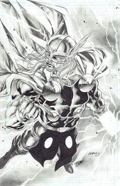 Thor by Jimbo Salgado, in Arthur Surya's Collections Gallery Comic Art Gallery Room Comic Book Artists, Comic Book Characters, Comic Book Heroes, Comic Artist, Marvel Characters, Comic Books Art, Marvel Dc, Marvel Heroes, Marvel Comics