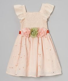 Light Peach Floral Maggie Peggy Shirred Dress - Girls & Toddler by Maggie Peggy #zulily #zulilyfinds