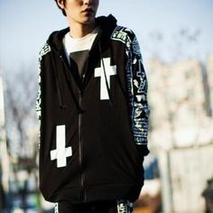 Cross Print Hoodie from #YesStyle <3 TOMONARI YesStyle.com.au