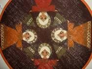 Retro Christmas danish textile place mat from INKA PRINT - 1970es. Material is jute. D: 30 cm.  #retro #danish #christmas #textile #1970 #dansk #jul #tekstil #daekkeserviet #inka #print