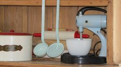 Blue and red vintage kitchenware