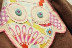 Free Owl Applique pattern to jazz up a girls jacket. Adorable. Go see the whole thing.