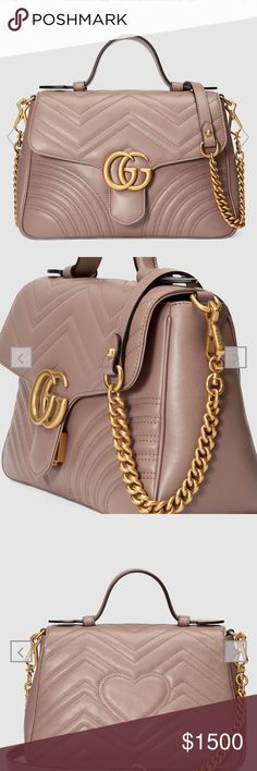 1d851ec36d05 GUCCI Small Marmont Purse The small GG Marmont top handle bag has a softly  structured shape