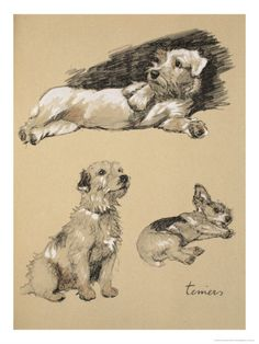 Terriers, from Just Among Friends, 1930, by Cecil Aldin. With just a few strokes, he could truly capture a pet's personality.