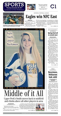 Kayla Smith, who is in her final season on the Upper Perkiomen girls soccer team, was named the 2013 Fall All Area Girls Soccer Player of the Year. http://www.gametimepa.com/mont-bucks-archives-gsoccer/ci_24813456/girls-soccer-upper-perkiomens-kayla-smith-is-all