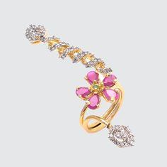 Stunning Full Finger Ring with Red Flower Design For more, visit bandbaajaa.com