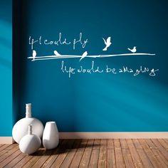 """Adesivo Murale - Se potessi volare...  Adesivo murale di alta qualità con pellicola opaca di facile installazione. Lo sticker si può applicare su qualsiasi superficie liscia: muro, vetro, legno e plastica.  L'adesivo murale """"Volare"""" è ideale per decorare il vostro soggiorno. Adesivi Murali."""