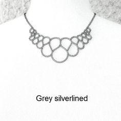 Black, white, purple, silverlined or crystal seed beads. Necklace. One of a kind!  I also make strong, comfortable elastic Hand Jewelry. Slave bracelets. www.handjewellery.com  www.etsy.com/se-en/shop/TinnasHandJewelry  www.facebook.com/handsmycken.se