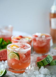 Watermelon Rosé Margarita. Such a tasty cocktail idea for a Summer party.